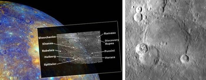 Кратер на Меркурії, названий на честь Шевченка